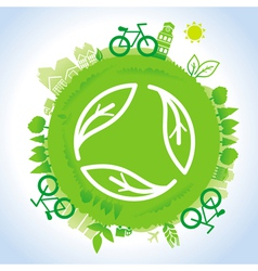 ecology concept - planet with green recycle vector image