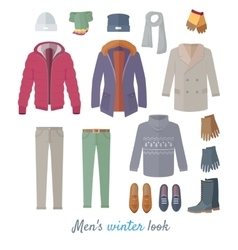 Men s winter look concept in flat design vector