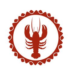Red stamp border with silhouette lobster vector