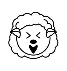 outline sheep head animal vector image
