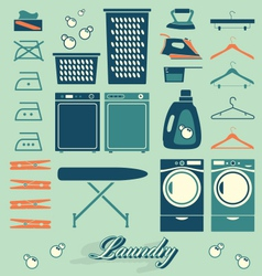 Retro Laundry Room Symbols and Icons vector image