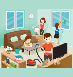 Father mother son and daughter cleaning home vector