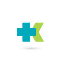 letter k cross plus medical logo icon design vector image
