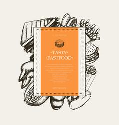 Fast food - modern hand drawn square postcard vector