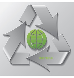 Recycling symbol with green globe vector