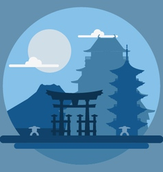 Flat design landscape of Japan vector image