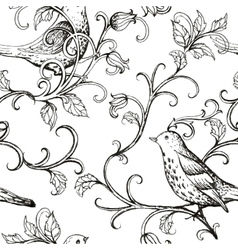 Hand drawn with birds texture pattern vector