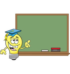 Cartoon light bulb pointing to a black board vector