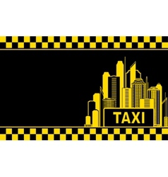 Business card with taxi and night city vector