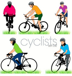 cyclists 02 vector image