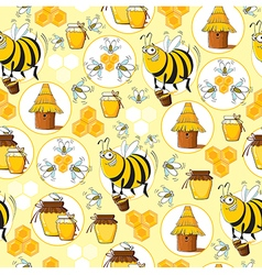Seamless pattern with bees honey vector