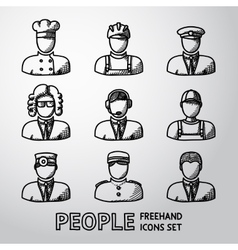 Set of hand drawn people faces - different vector