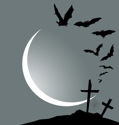 Flying bats halloween vertical banner vector