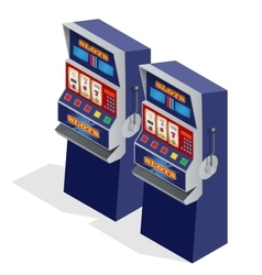 Casino slot machines 3d flat isometric vector