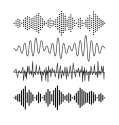 Set of sound audio waves music eq musical melody vector