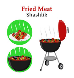 Barbecue set - grill station shashlik kebab vector