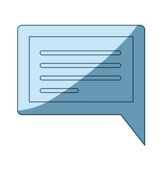 Blue shading silhouette of rectangular dialogue in vector