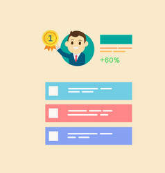Businessman get reward in number one with profile vector