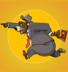 Cartoon character bear in a suit with a briefcase vector