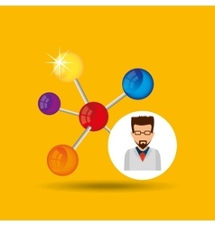 character scientist chemistry molecule structure vector image vector image