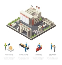Colored factory isometric composition vector