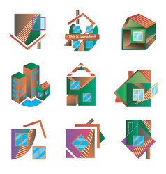 Colored logos in the form of houses vector