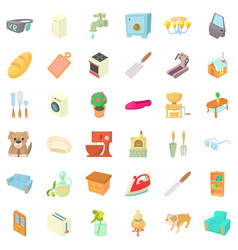 cozy house icons set cartoon style vector image vector image