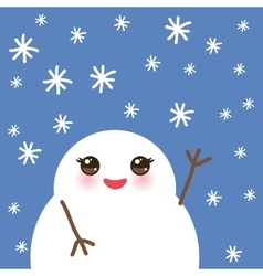 cute cartoon white kawaii snowmen with snowflakes vector image