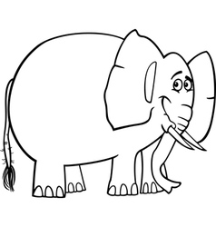 cute elephant cartoon for coloring book vector image