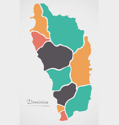 Dominica map with states and modern round shapes vector