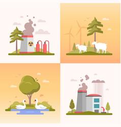 Eco lifestyle - set of modern flat design style vector