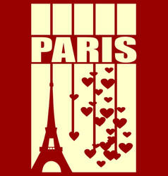 Eiffel tower paris striped backdrop with hearts vector