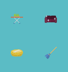 flat icons sofa besom sponge and other vector image vector image