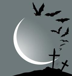 Flying bats halloween vertical banner vector