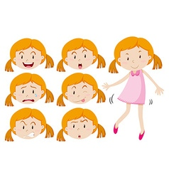 Girl in pink dress and different emotions vector image