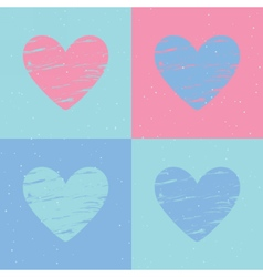 Grunge heart background valentines day pattern vector