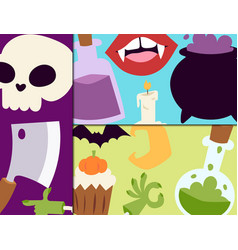 halloween carnival cards with vector image
