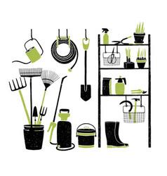 hand drawn gardening tools storing on shelving vector image