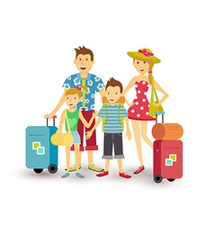 Happy family summer vacation travel flat art vector