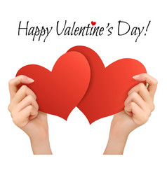 Holiday valentine background with hands holding vector image vector image