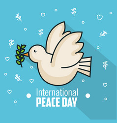 International peace day pigeon with branch olive vector