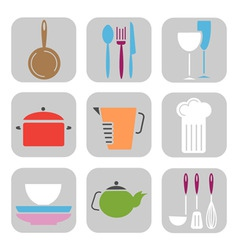 Kitchen tool icons vector