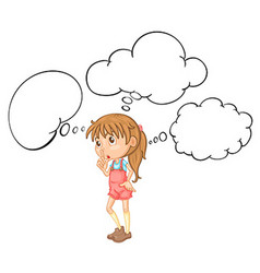 Little girl with speech bubble template vector image vector image