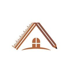 Logo house building window circle symbol pencil ve vector