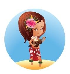 Luau ukulele hawaiian cartoon girl vector