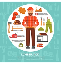 Lumberjack and tools icons set vector