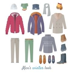 Men s winter look concept in flat design vector