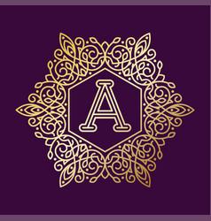 Monogram a bage logo text vector