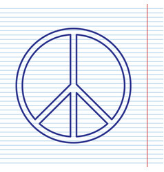 peace sign navy line icon on vector image vector image