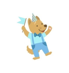 Puppy cute animal character attending birthday vector